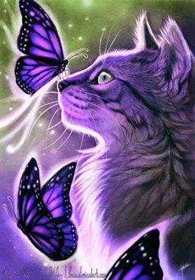purple cat and butterflies